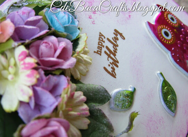 Happy birthday handmade card with owl stickers and colorful paper flowers by CdeBaca Crafts