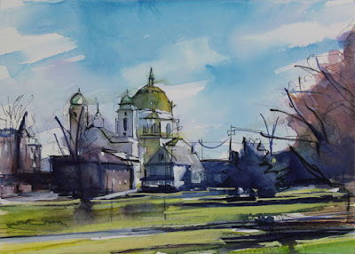 Watercolor painting of our lady of victory basilica