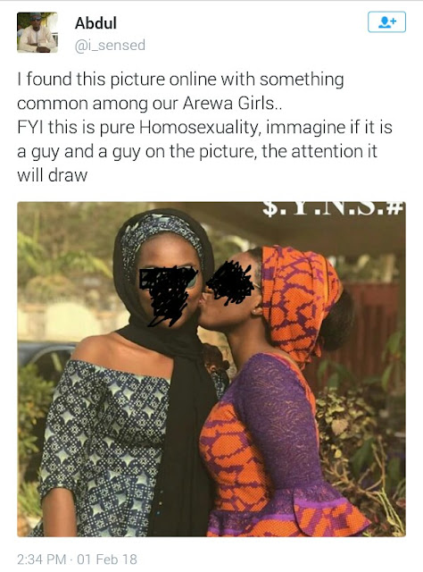 "Photo of young girl giving another girl a peck on the cheek is ""pure homosexuality"" says Nigerian Muslim man"