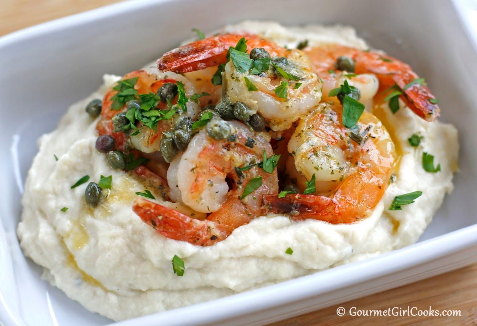 Easy Shrimp Piccata Over Rich Parmesan Cauliflower Mash