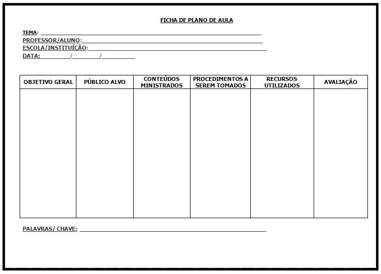 Modelo de ficha para plano de aula s escola for Plano aula educacion infantil