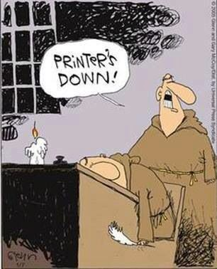 Funny Printer's Down Monk Cartoon Joke Picture