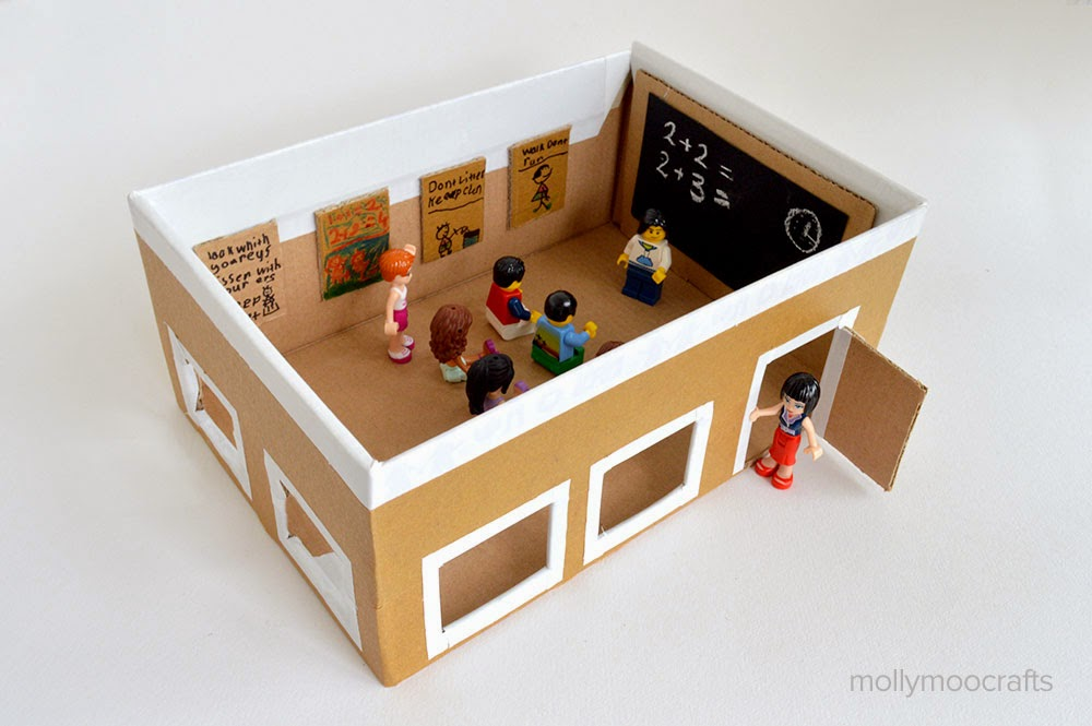 Diy Shoebox School Lego Toy For Kids Ideas Creativehozz About Home Decorating Design