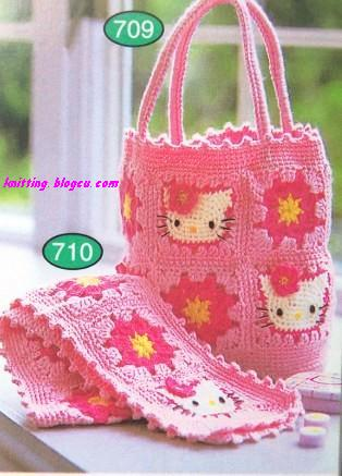 Patrón #848: Bolso Hello Kitty a Crochet