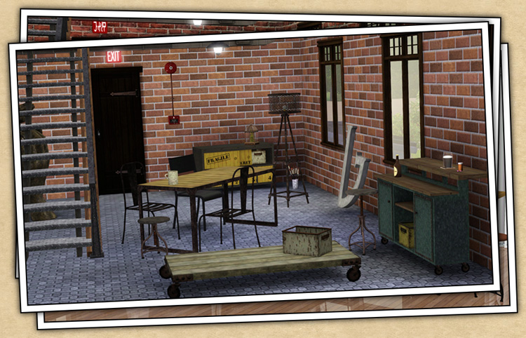 My Sims 3 Blog Industrial Dining Room Set By Sandy