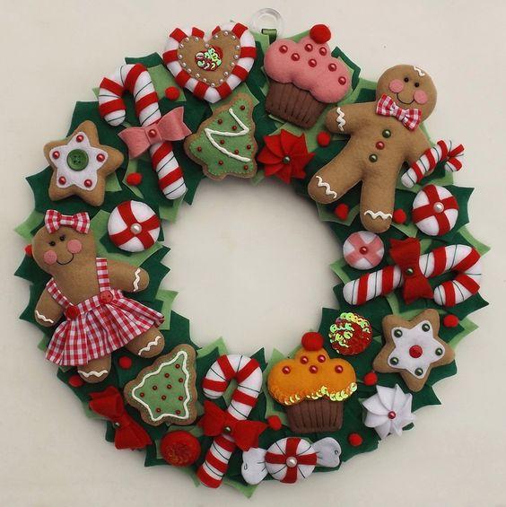 Guirlanda de natal em feltro ver e fazer - Decoracion navidena artesanal ...