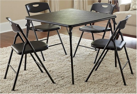 Folding Card Table And Chairs Office Chair Herman Miller Aeron Daily Cheapskate Cosco 5 Piece Set For 66 70 On Amazon Great Small Sukkahs