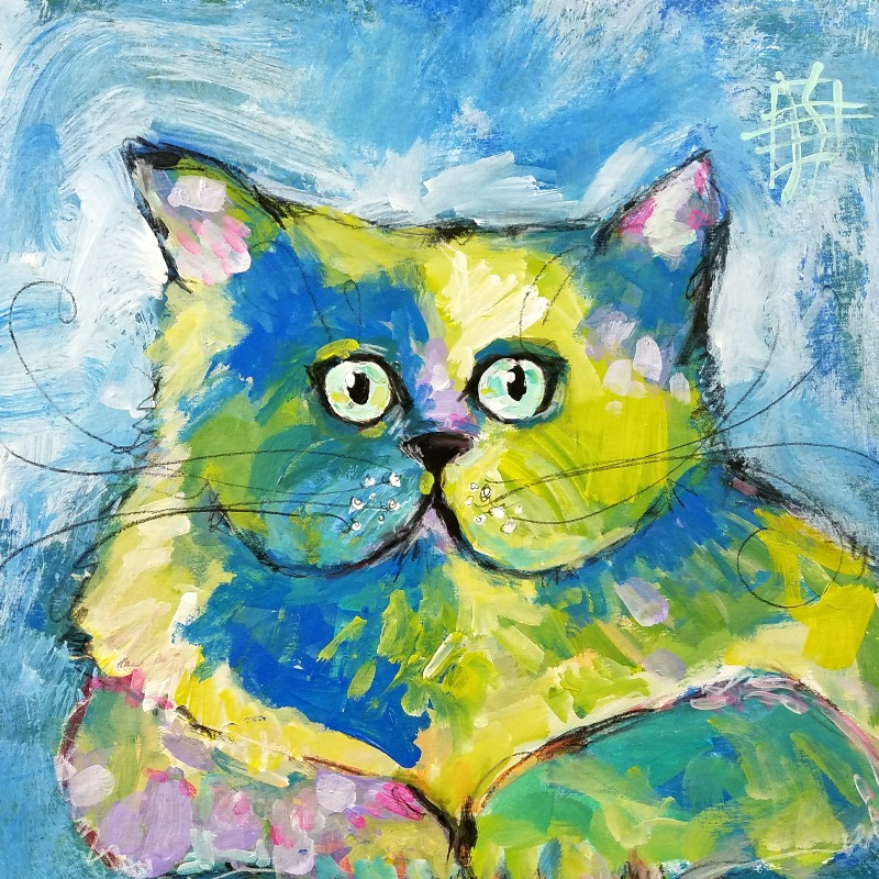 cat #6 by joanie springer 30 paintings in 30 days