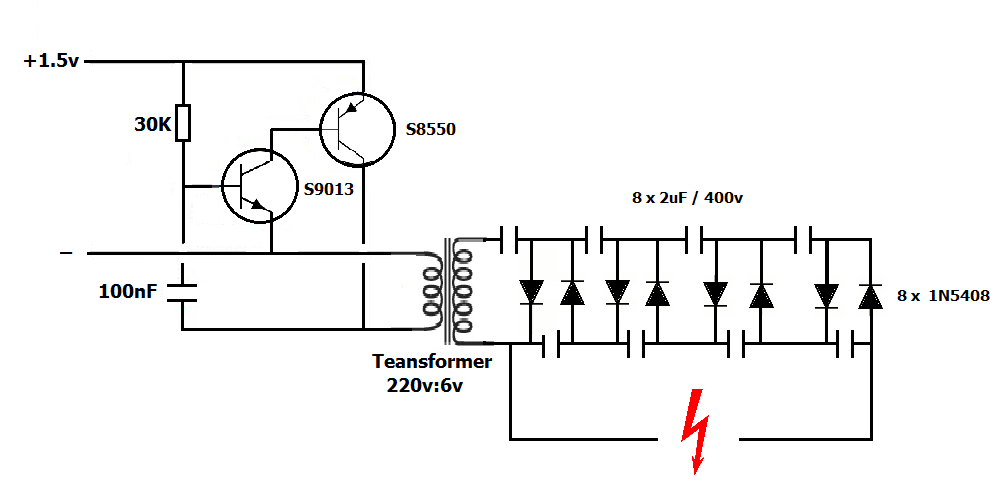 electric fly swatter circuit