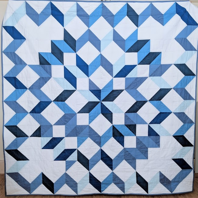 Snow crystals blue and white hst quilt
