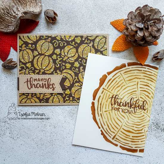 Thank you cards by Zsofia Molnar | Thankful Thoughts Stamp Set, Pumpkin Patch Stencil and Tree Rings Stencil by Newton's Nook Designs #newtonsnook #handmade
