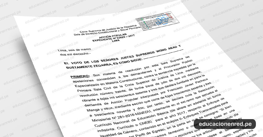 MINEDU: Enfoque de Género Continuará en el Currículo Nacional sin modificaciones - VIDEO [DESCARGAR SENTENCIA DEFINITIVA .PDF]