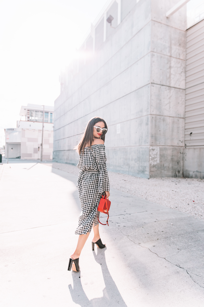 henri bendel, red bag, who what wear, gingham top, gingham skirt, nordstrom, white cat eye,  mules, french connection, fashion, miami fashion blogger,