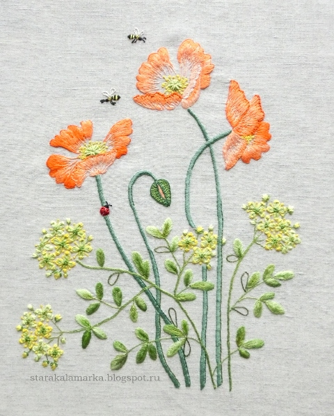 Herb Embroidery on Linen, блог лаконичная вышивка, вышивка гладью