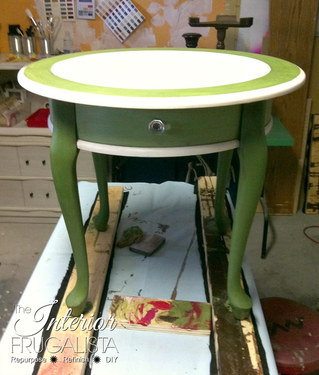 Queen Anne Curbside Table milk painted