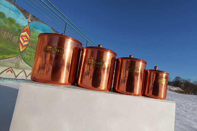#thriftscorethursday Week 98 Copper Canister Set | www.blackandwhiteobsession.com