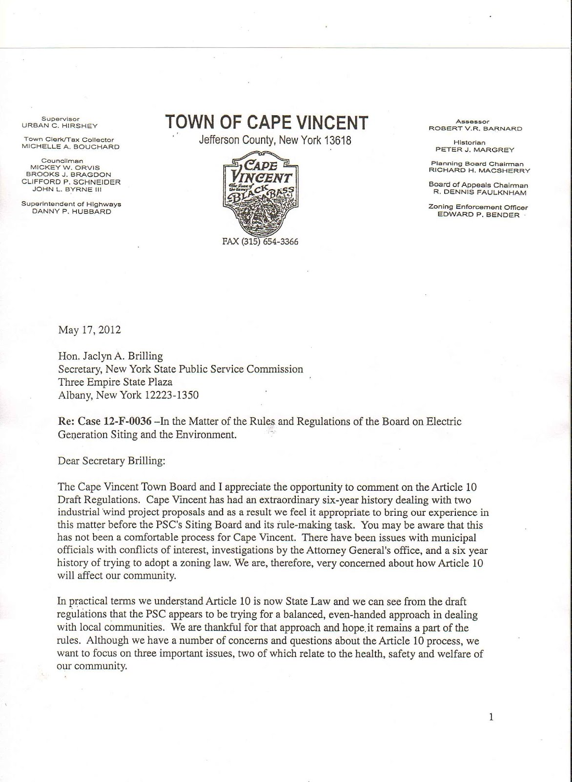 PANDORA'S BOX OF ROCKS: Town of Cape Vincent Comment Letter to NYS