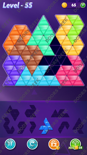 Block! Triangle Puzzle 9 Mania Level 55 Solution, Cheats, Walkthrough for Android, iPhone, iPad and iPod
