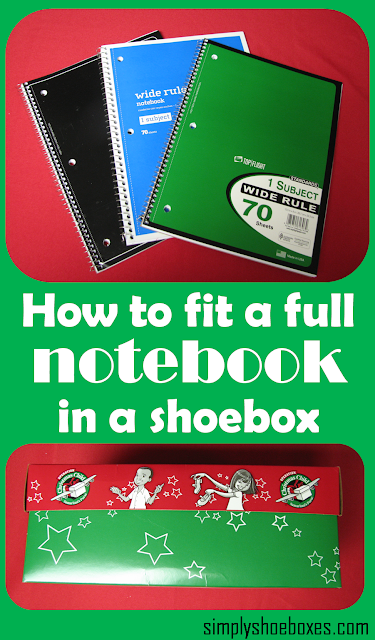 How to fit a full-size spiral notebook in an Operation Christmas Child shoebox.