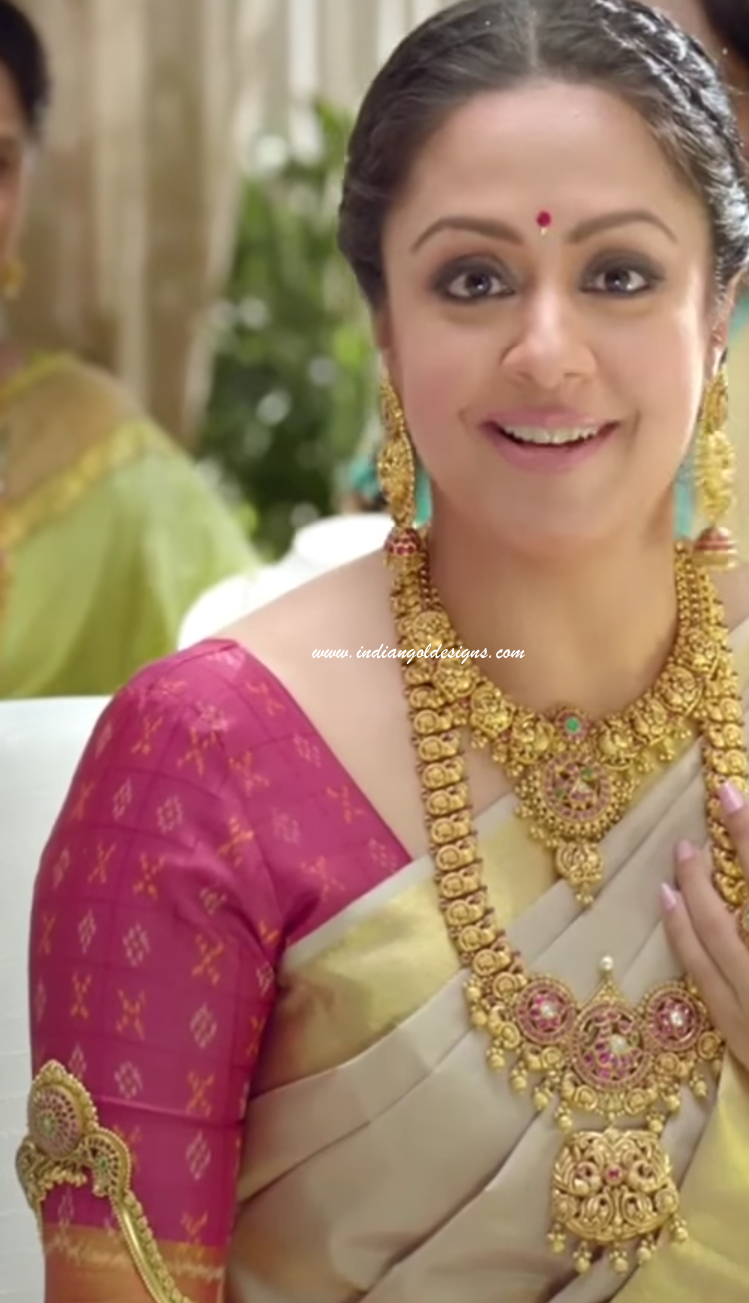 Latest saree designs jyothika in beige bridal saree checkout jyothika in beige bridal saree paired with contrast pink half sleeves blouse altavistaventures Image collections