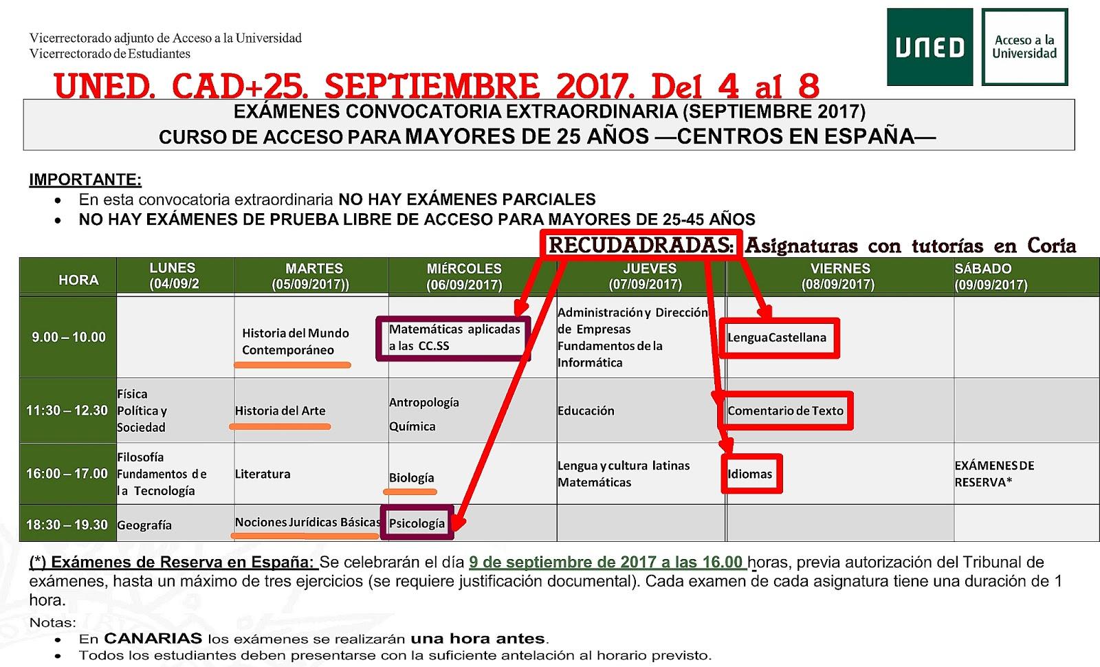 Uned Calendario Examenes.Uned Aula De Coria Caceres Calendario De Examenes