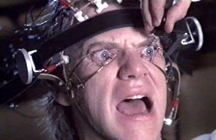 Malcolm McDowell dans Orange Mécanique de Kubrick (1971)