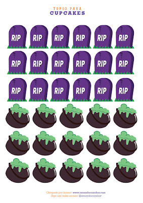 topo para cupcakes Impressos para sua festa de Halloween para baixar GRÁTIS