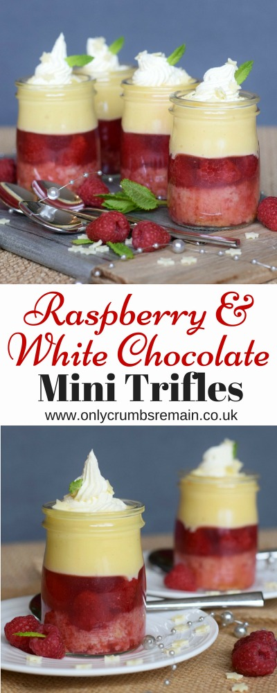 How to make Raspberry & White Chocolate Mini Trifles, a delicious dinner party dessert.