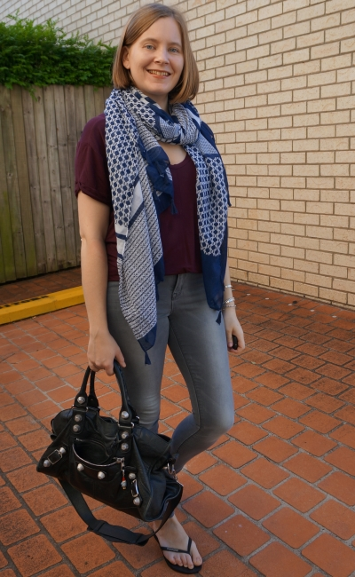 navy geometric print scarf with burgundy slouchy tee grey skinny jeans | awayfromblue