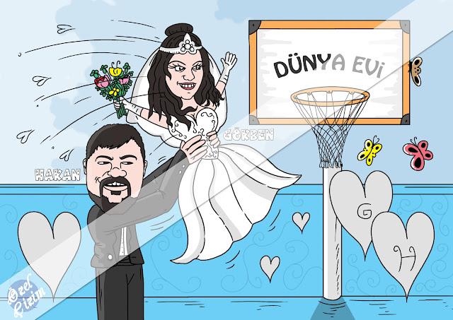 Özel Çizim, nişan hediyesi, komik nişan hediyesi, çiftlere hediye,karikatür, Hediye Karikatür, gelin damat karikatür, evlenecek çiftlere, düğün, komik hediye, arkadaşınıza hediye, aşk hediye, basketbol karikatür