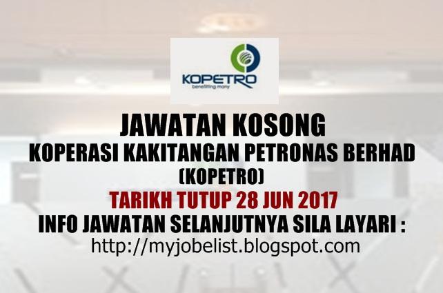 Jawatan Kosong di Koperasi Kakitangan PETRONAS Berhad (KOPETRO) 2017