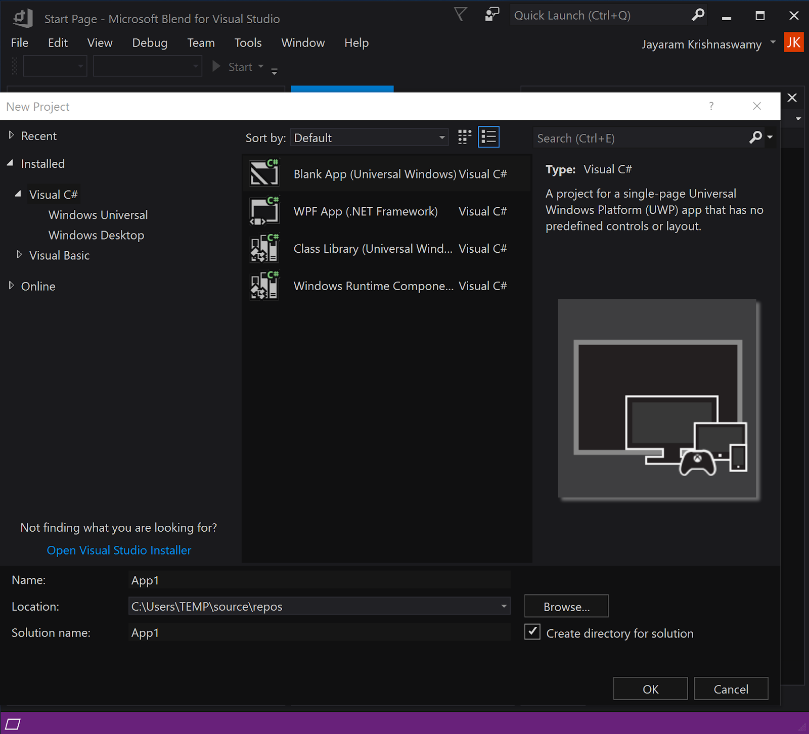C# template fails to load in Visual Studio 15 7 5