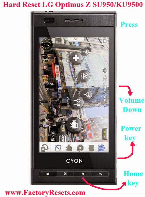 Hard Reset LG Optimus Z SU950KU9500