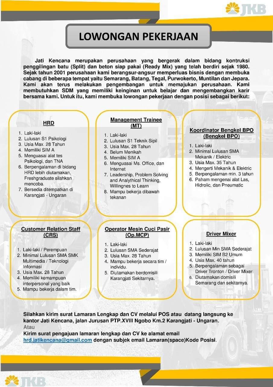 Lowongan Kerja Jati Kencana Beton Jkb Ungaran April 2019 Berbagai Posisi Semarang Loker Swasta