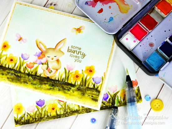 Watercolor Bunny Card by Nina-Marie Trapani | Hello Spring Stamp set by Newton's Nook Designs #newtonsnook