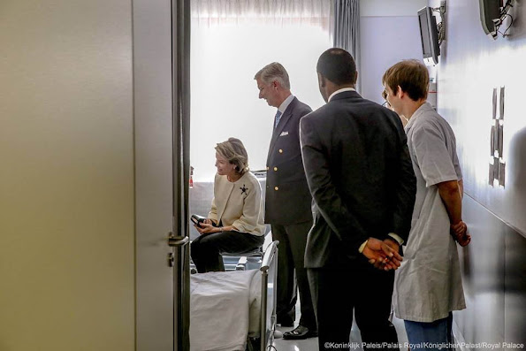Queen Mathilde and King Philippe of Belgium‬ visited the victims of the attacks of March 22 at the Brussels Airport and the Brussels metro and members of the emergency services and medical staff at St. Michel Hospital in Brussels