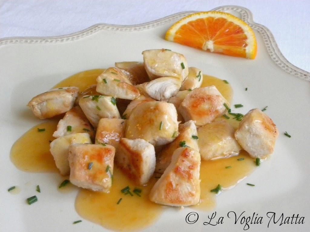 bocconcini di pollo con salsa agrodolce all'arancia
