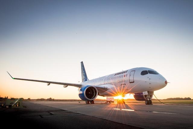 Bombardier CS100 on Beautiful Sunset
