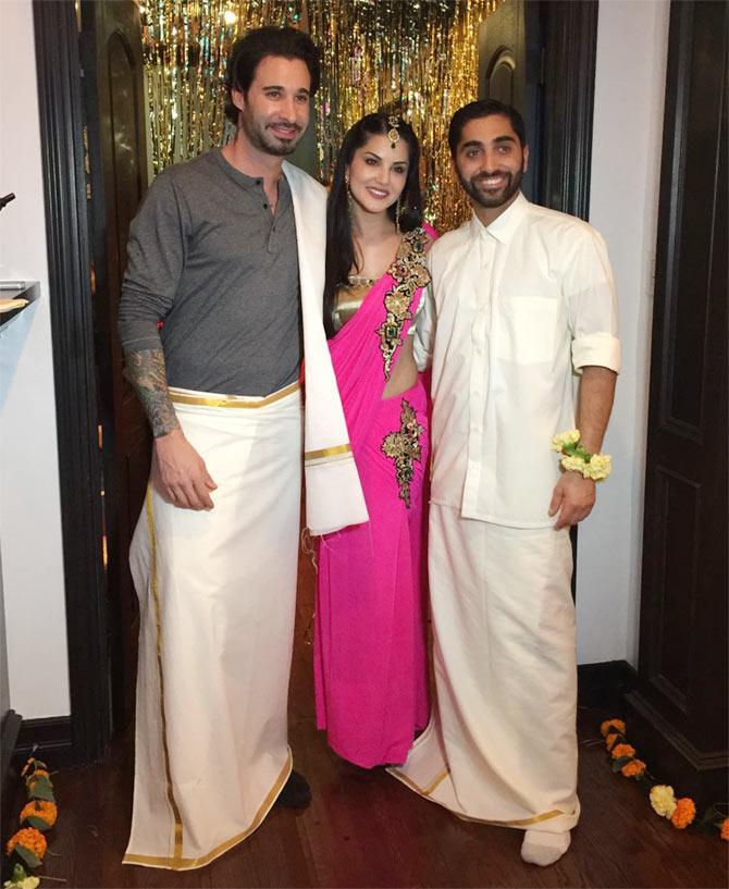 Sunny Leone Wears Three Looks At Her Brother Sandeep Vohra -8168