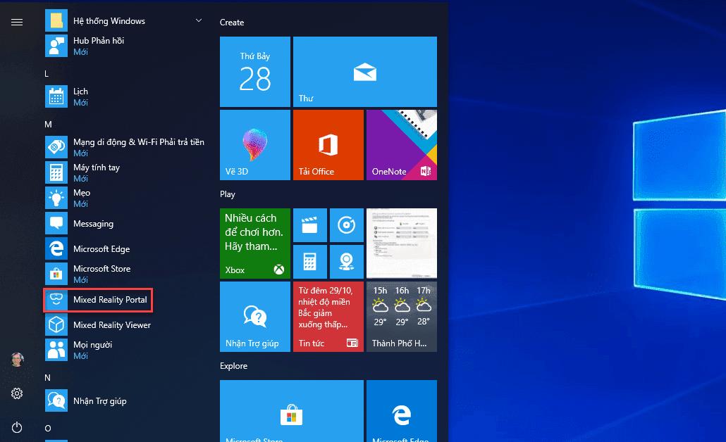 Hướng dẫn gỡ bỏ ứng dụng Mixed Reality Portal trong Windows 10 version 1709