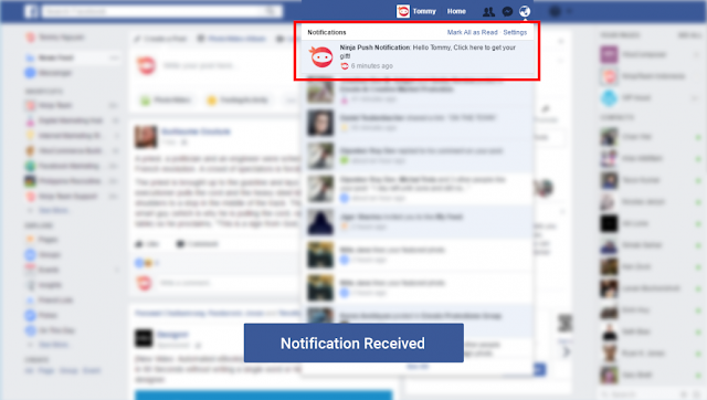 Create a push facebook notification-redirect customer to a business landing page