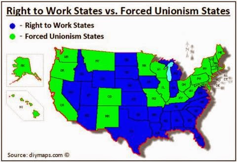Right To Work States Vs Union States Map.Forced Unions Fizzle The Meddlesome Priest