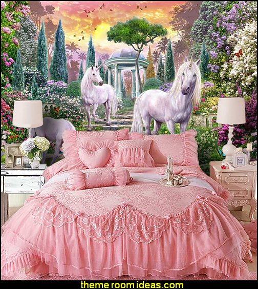Charmant Unicorn Wall Murals Princess Pink Lace Bedding Girls