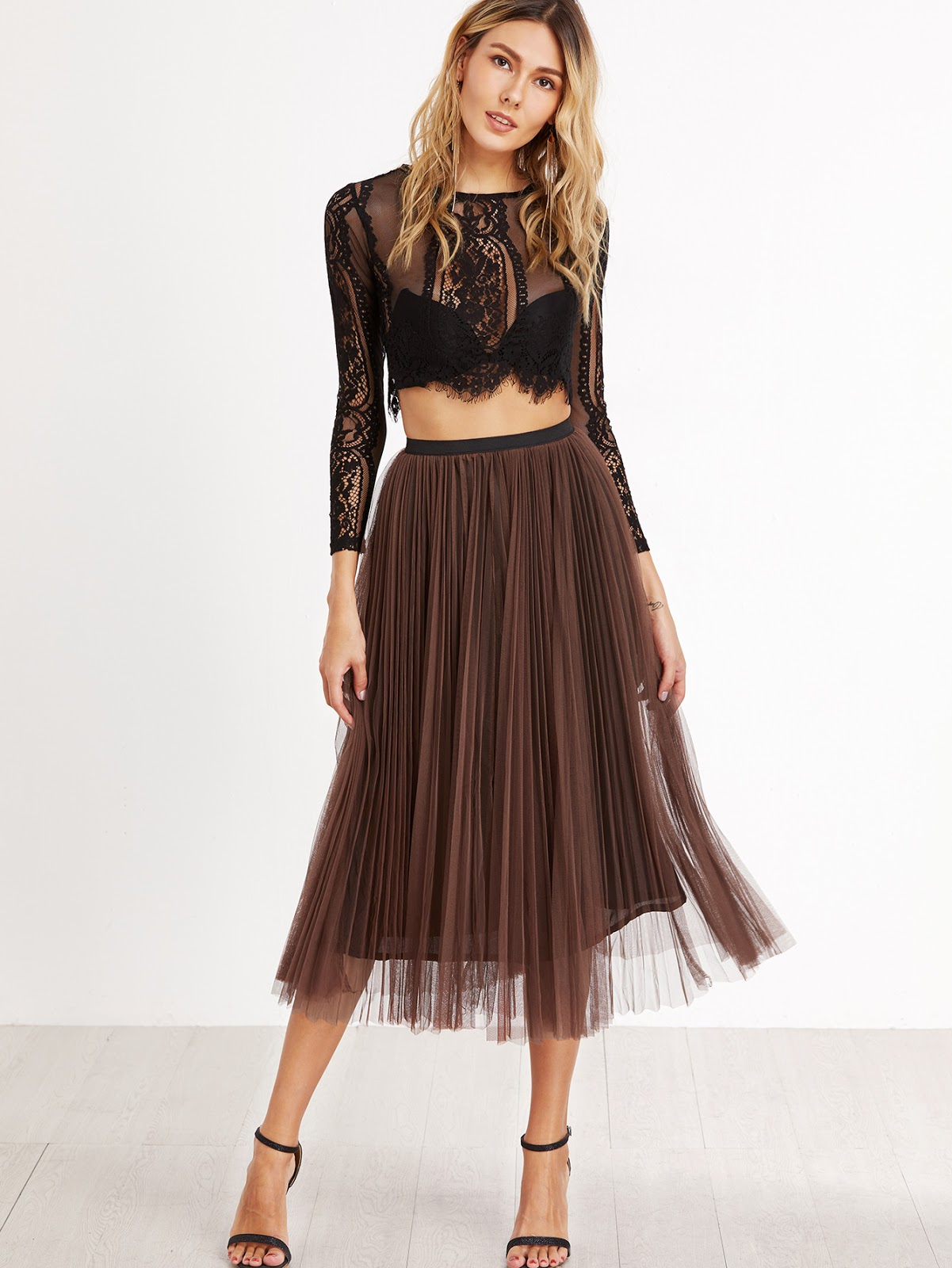 Camel Mesh Overlay Pleated Skirt