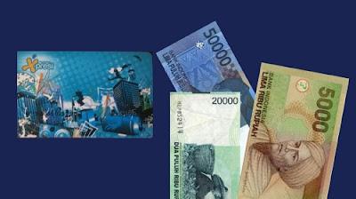 kartu atm bca xpresi dan uang Rp.75.000