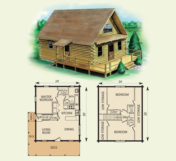24 ft x 30 ft Log Cabin Kit