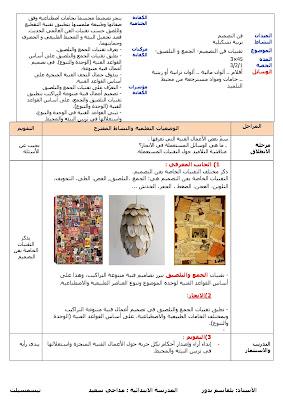 مذكرات مادة التربية التشكيلية الاسبوع (24) المقطع (3) تقنيات فن التصميم-الجمع و التلصيق السنة الرابعة ابتدائي الجيل الثاني
