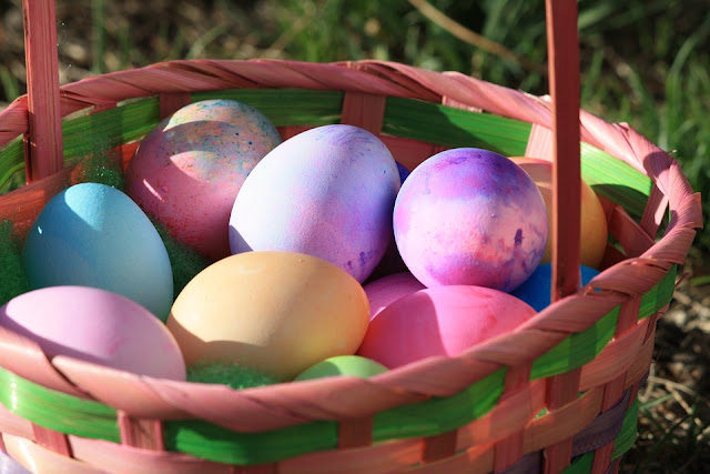 Easter eggs in Easter basket