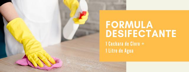formula desinfeccion sacar grasa muebles melamina
