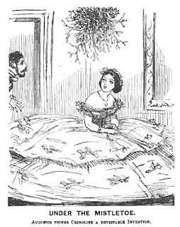"""Under the Mistletoe"" crinoline satire, in 'Punch' January 1857"